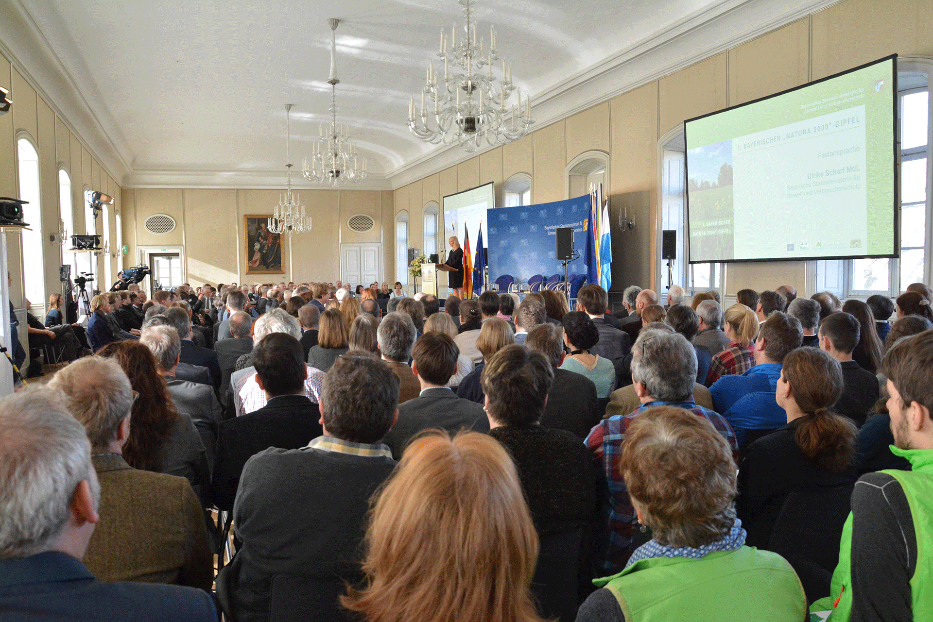 Die ehemalige Bayerische Umweltministerin Ulrike Scharf hält eine Festansprache am Natura 2000-Gipfel in Schloss Nymphenburg am 29. Januar 2018.