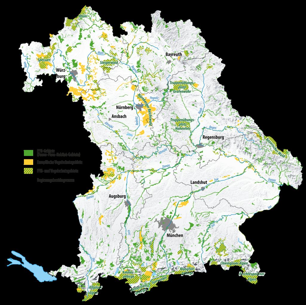 Die Grafik zeigt Flora-Fauna-Habitat-Gebiete und Europäische Vogelschutzgebiete in Bayern. Die Fläche erstreckt sich über 800.000 Hektar, das sind 11 Prozent der Landesfläche.