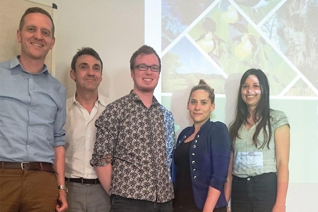 Gruppenfoto in Thüringen. Von links nach rechts: Dr. Florian Wetzel, Sebastian König, Dr. Martin Sommer, Lisa Mitterbuchner, Theresa Bode.