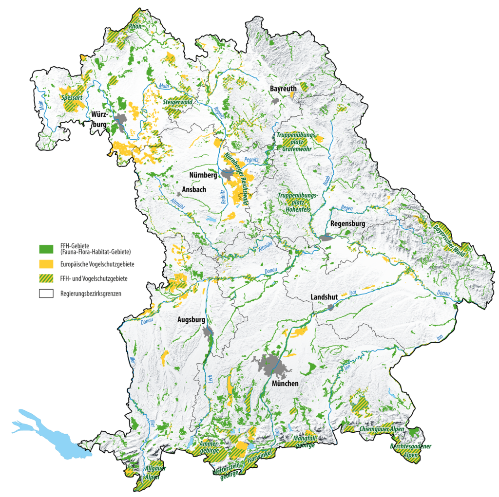 The map shows Natura 2000-areas in Bavaria.