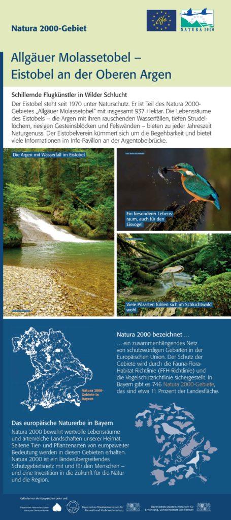 Hier ist ein Beispiel einer Informationstafeln für Natura 2000 zu sehen - mit speziellen Gebietsinformationen und allgemeinen Informationen zu Natura 2000