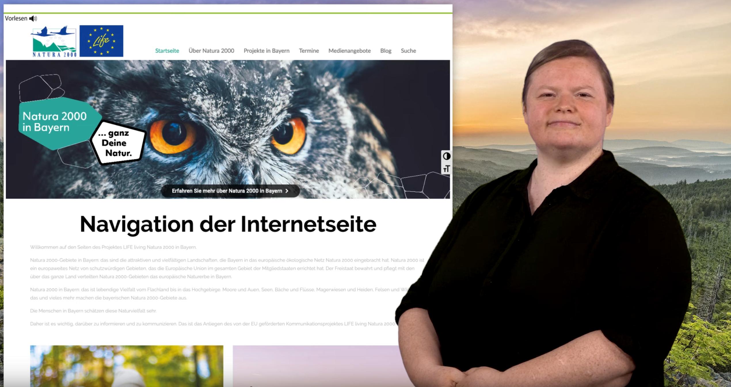 Im rechten Hintergrund iste ein weiter Blick auf eine Hügellandschaft gegeben, auf der linken Seite ist die Website von Natura2000 mit der Beschriftung Navigation der Internetseite abgebildet. Im Vordergrund ist eine Person zu sehen.