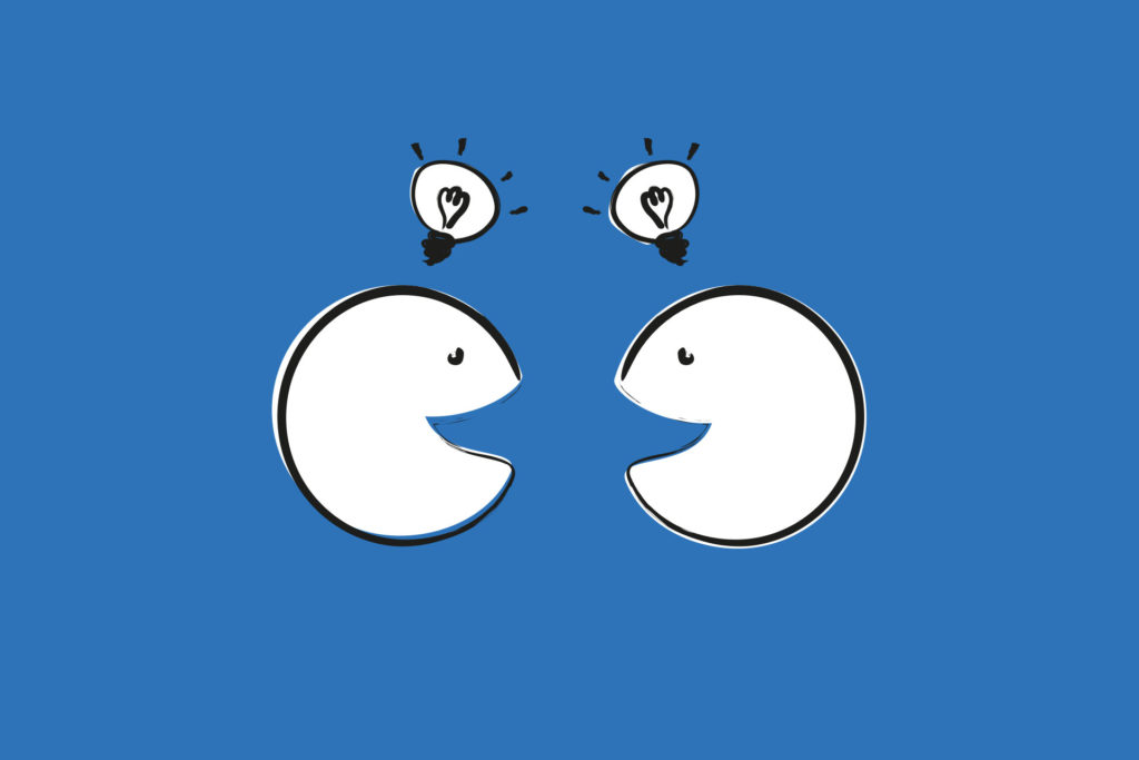 Die Illustration zeigt zwei vereinfachte Gesichter die sich unterhalten