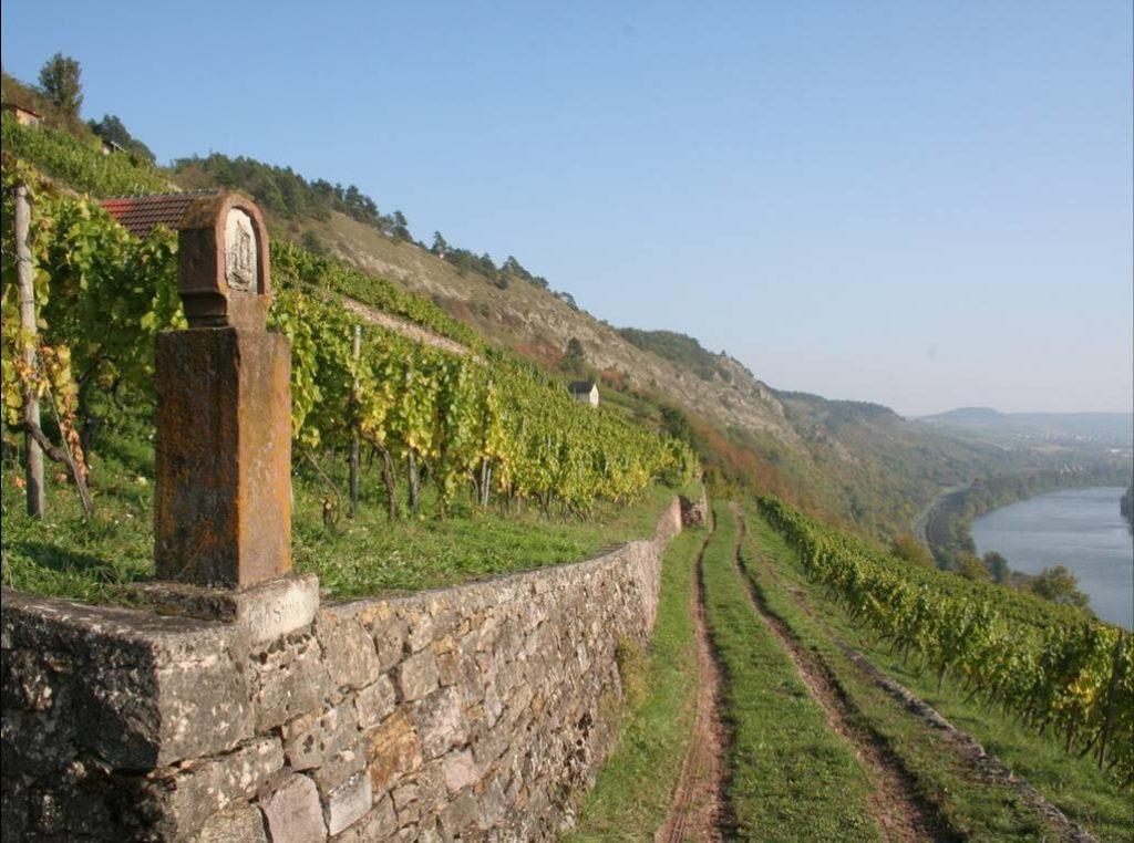 Von der Perspektive auf einem Feldweg stehend verläuft links eine kleine Steinmauer, auf welcher terrassenartig ein bepflanztes Feld angelegt ist. Dahinter liegt hügeliges Land mit fließendem Gewässer nach rechts abbiegend.