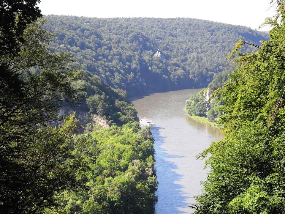 Auf dem Bild ist die Donau zu sehen, die sich zwischen waldbewachsenen Felswänden hindurchschlängelt.