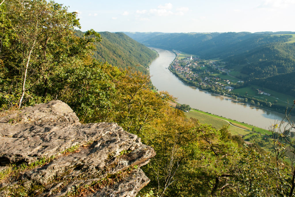 Von einem Aussichtspunkt, dem Ebenstein, oberhalb der Donau aufgenommen. Man blickt über herbstlich gefärbte Waldhänge hinab in das Donautal. Am Ufer befindet sich ein kleines Dorf. Aus der unteren linken Bildecke ragt ein Felsvorsprung in das Bild.