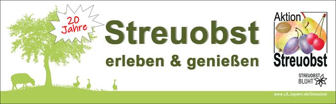 Banner der Aktion Streuobst mit stilisierten Bäumen und Obst
