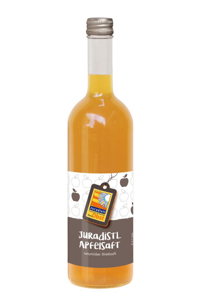 Glasflasche mit Apfelsaft