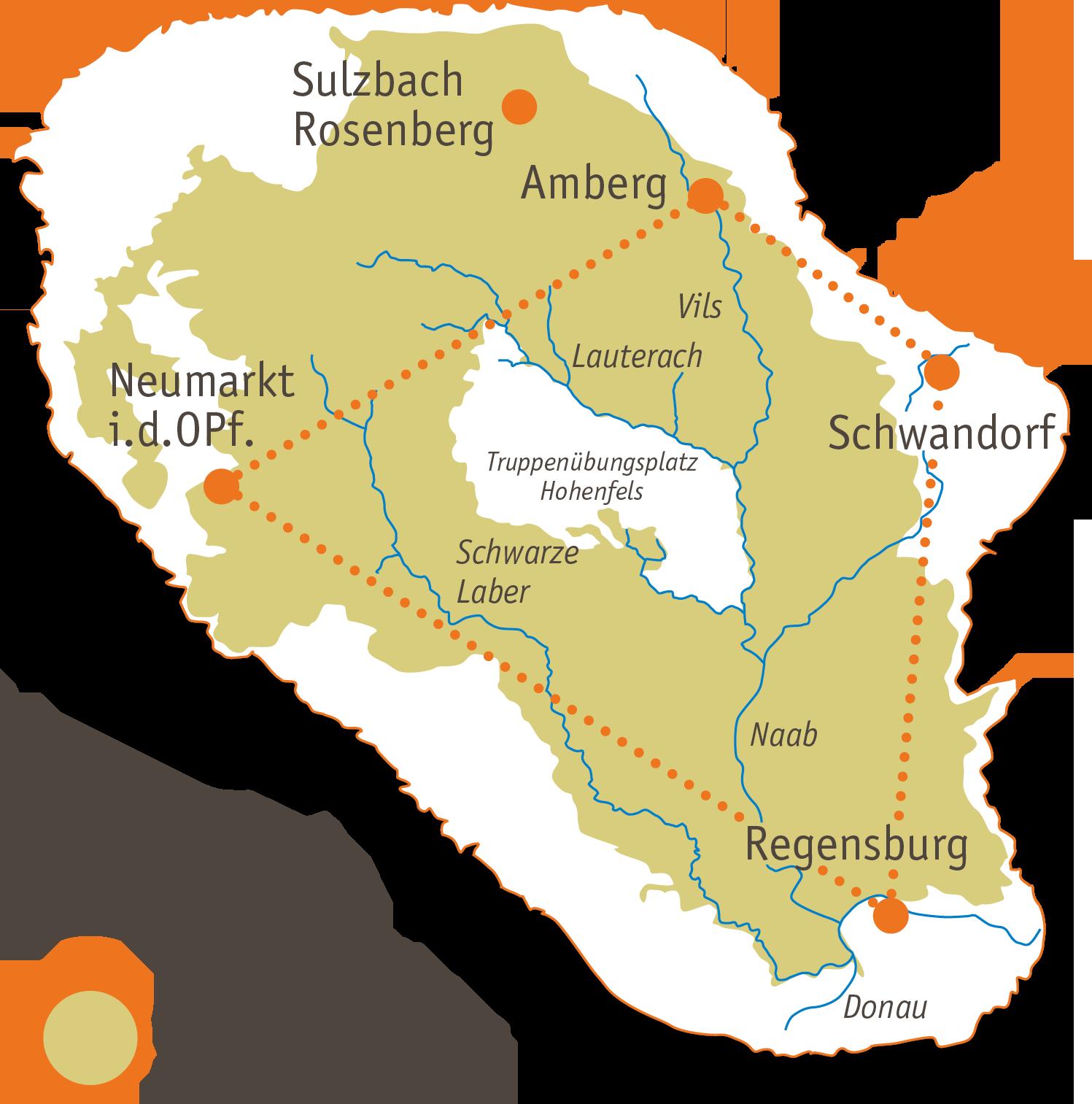 Karte des Projektkerngebiets Juradistel u.a. mit Amberg, Neumarkt i.d. OPf., Regensburg und Schwandort