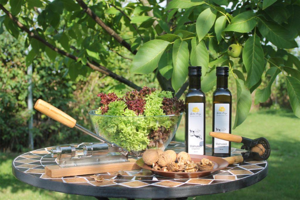 Auf einem Tisch in einem Garten sind zwei Flaschen Walnussöl, Nüsse auf einem Teller und grüner Salt in einer Glasschüssel angerichtet.