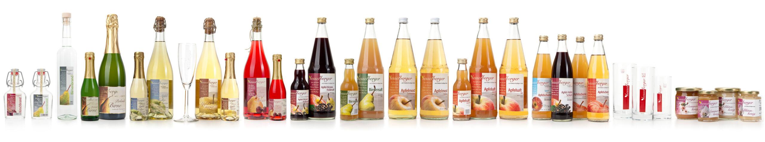 Säfte und alkoholische Getränke in Glasflaschen stehen in einer Reihe vor weißem Hintergrund.