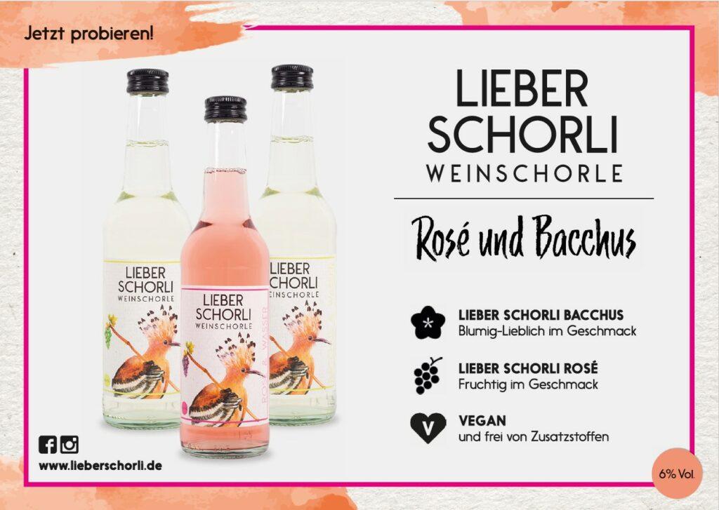 Werbeanzeige mit drei Flaschen Weinschorle und Beschreibung
