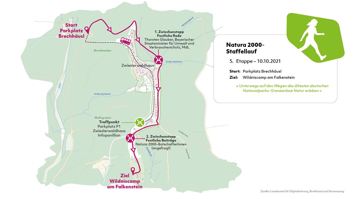 Karte der fünften Etappe des Natura 2000-Staffellaufs.