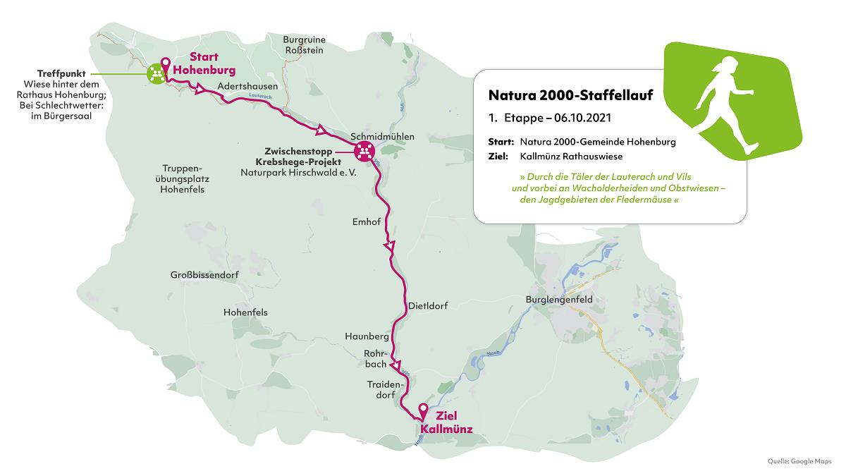 Karte der ersten Etappe des Natura 2000-Staffellaufs