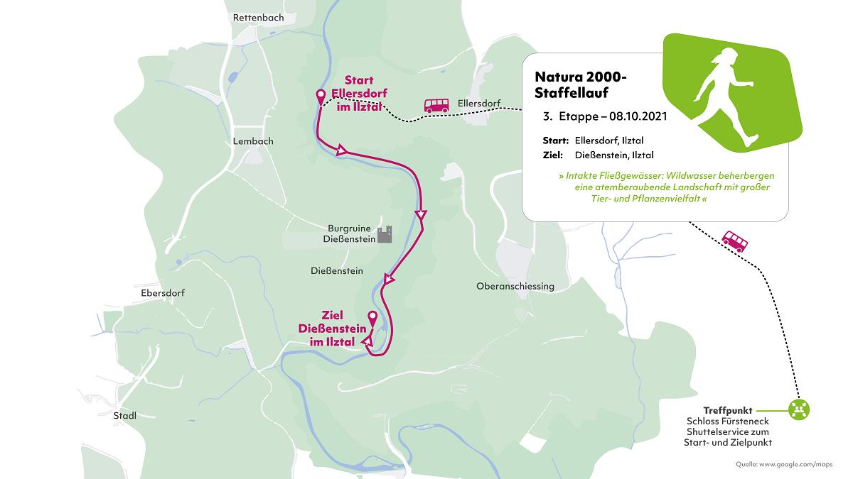 Karte der dritten Etappe des Natura 2000-Staffellaufs