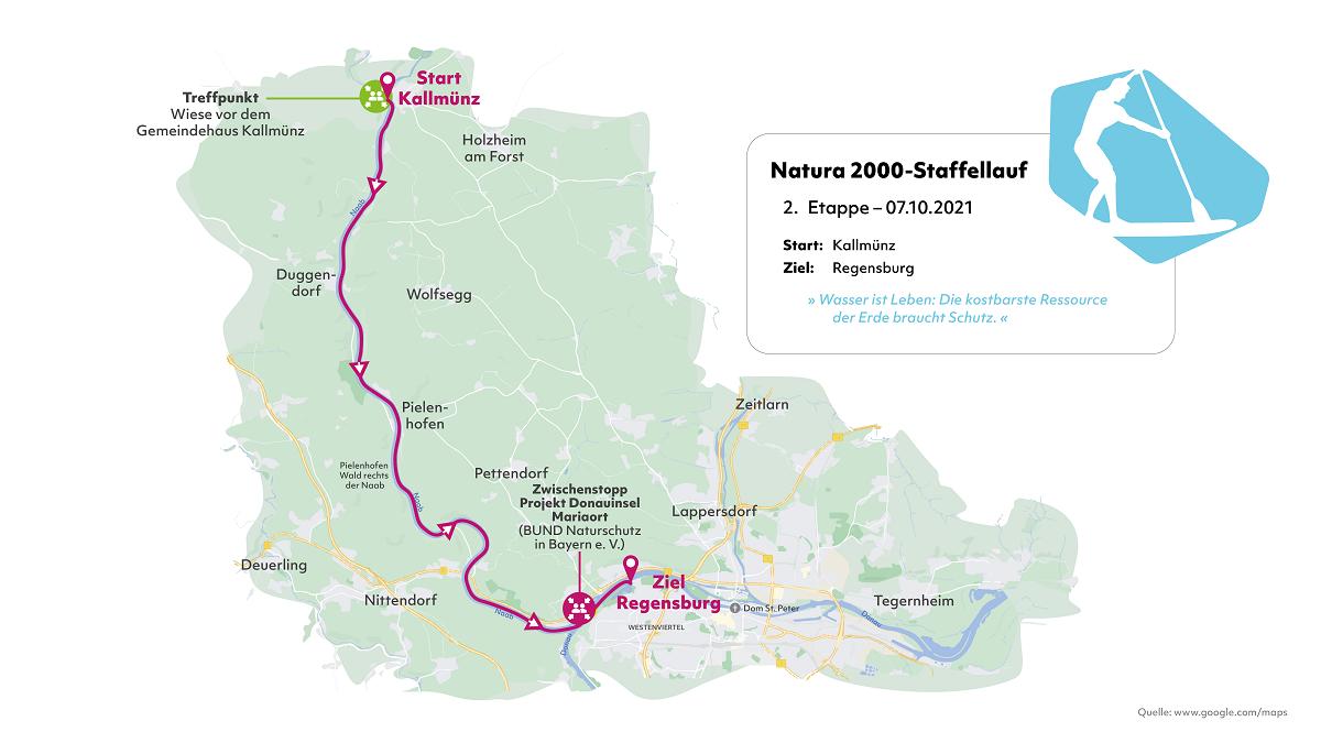 Karte der zweiten Etappe des Natura 2000-Staffellaufs