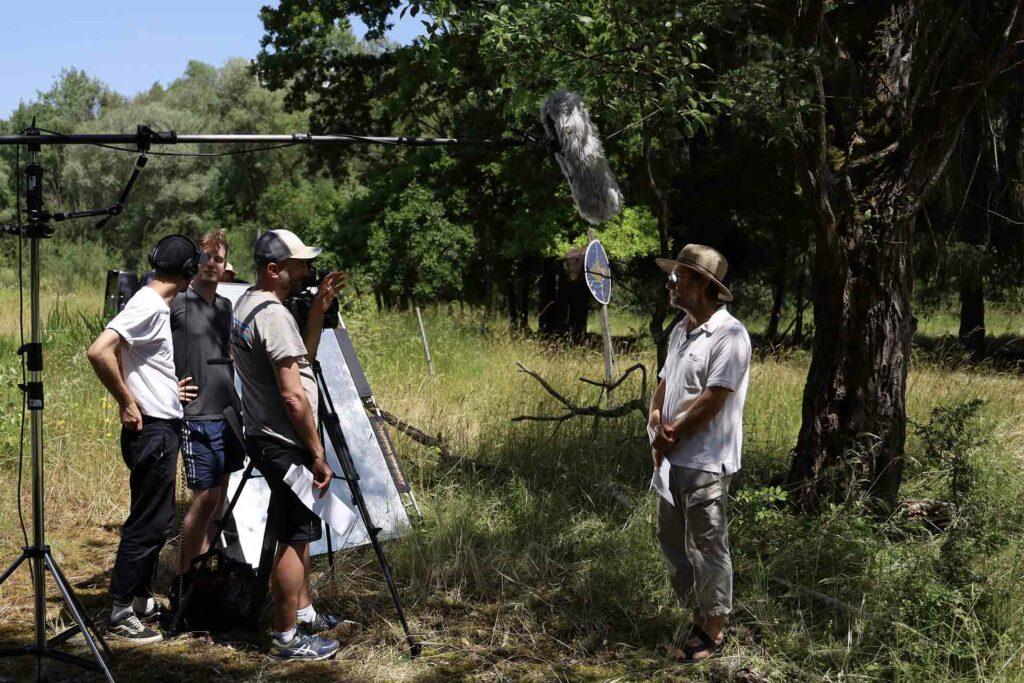 Das Filmteam interviewt Andreas Zahn (BUND Naturschutz e. V.)